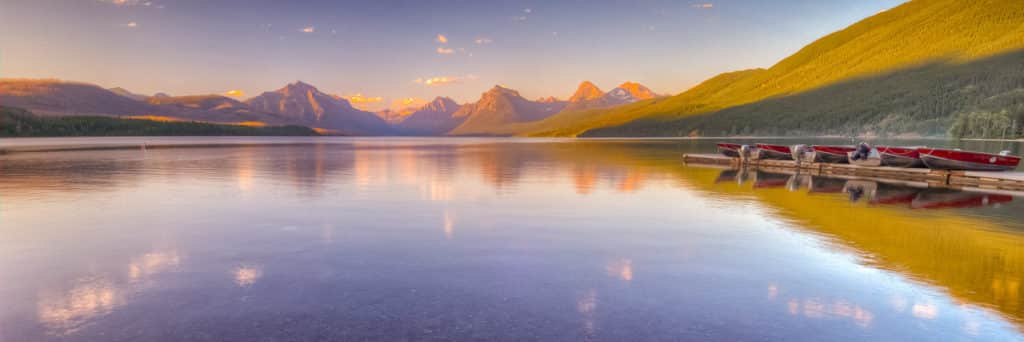 Boats have been secured for the evening on Lake McDonald in Glacier National Park, Montana.