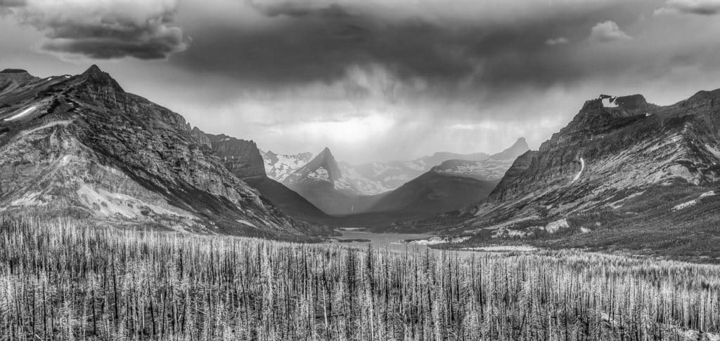A view west from above St. Mary Lake at an approaching storm in Glacier National Park in Montana.