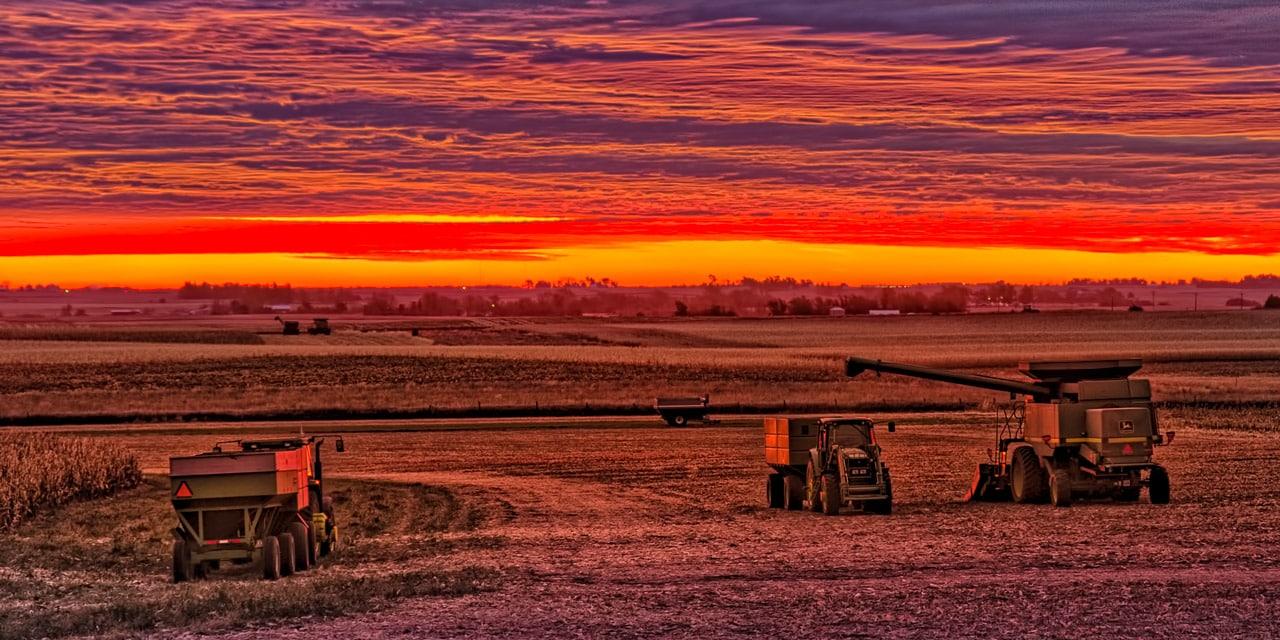 Sunrise over harvesting equipment waiting in a field near Glidden, Iowa.
