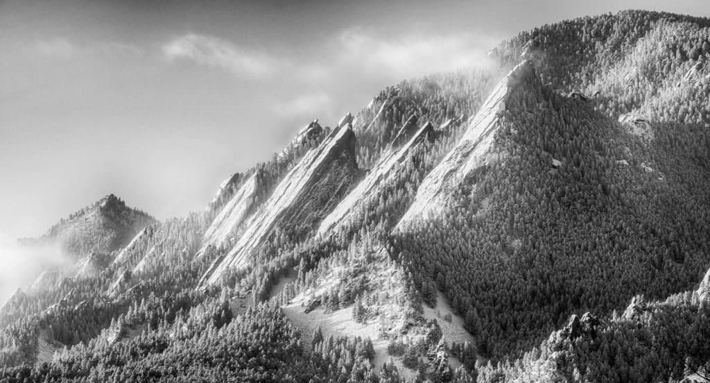 Boulder Flatirons with Snow