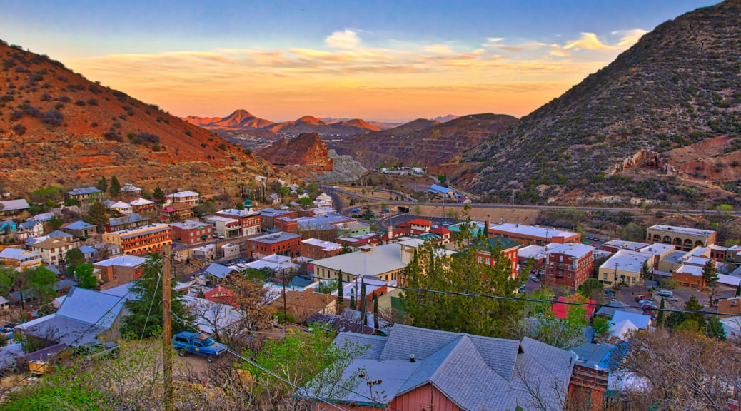 A view from one of the upper streets at sunset across Bisbee, Arizona, looking toward the Lavender Pit Mine.