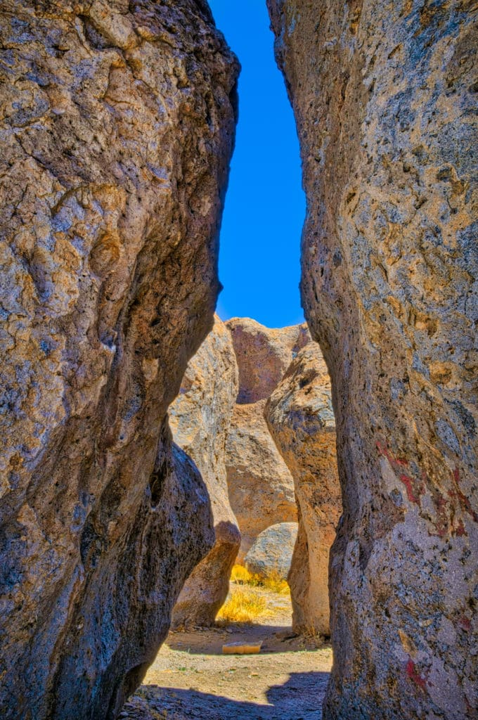 A path through the eroded tuff pinacles in City of Rocks State Park in New Mexico.