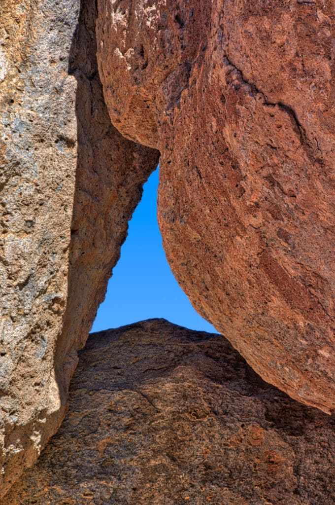 A view up through converging pinnacles in City of Rocks State Park, near Silver City, New Mexico.