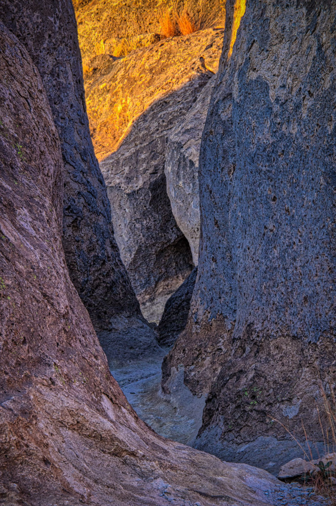 """A path, sometimes called a """"street,"""" winds through the eroded tuff formations in City of Rocks State Park between Deming and Silver City, New Mexico."""