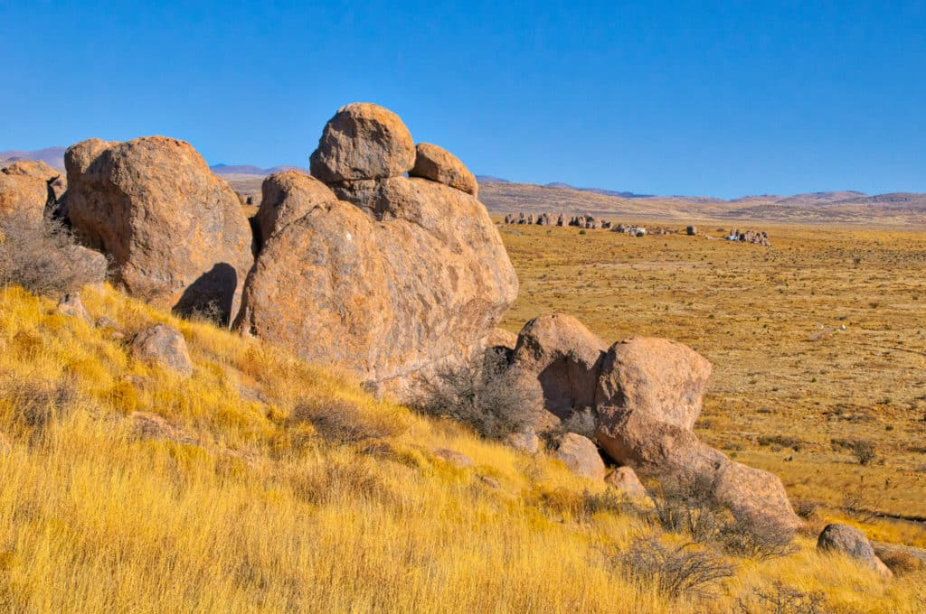 A view of Pegasus North Campground at the north end of City of Rocks State Park in New Mexico.