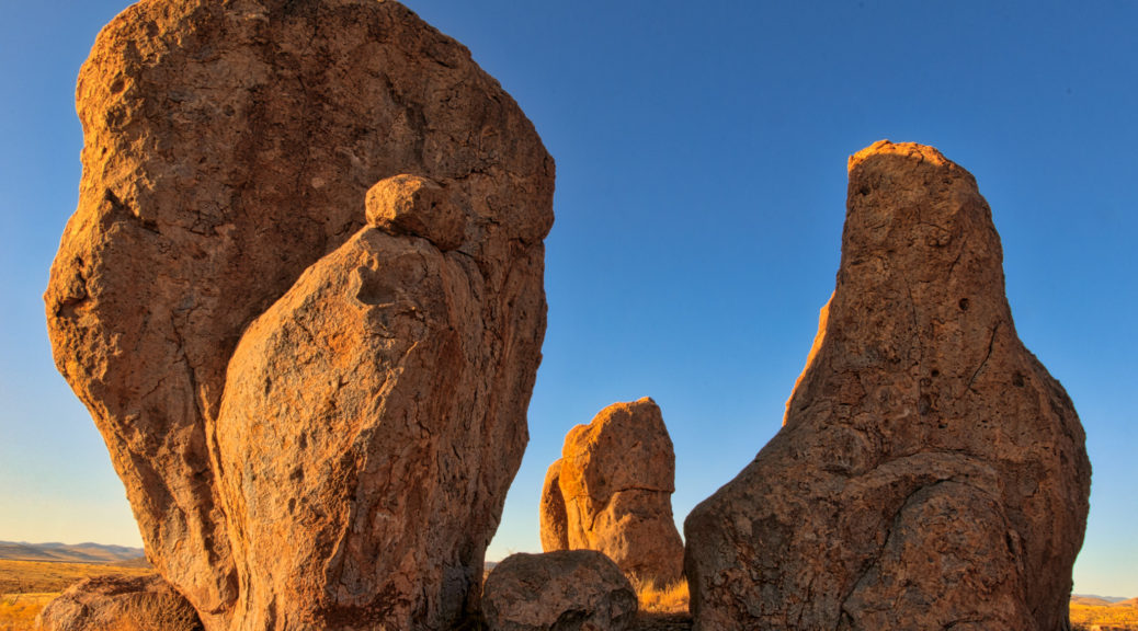 "A ""family"" of pinnacles stand as still as stone while having their portrait taken in City of Rocks State Park, New Mexico."