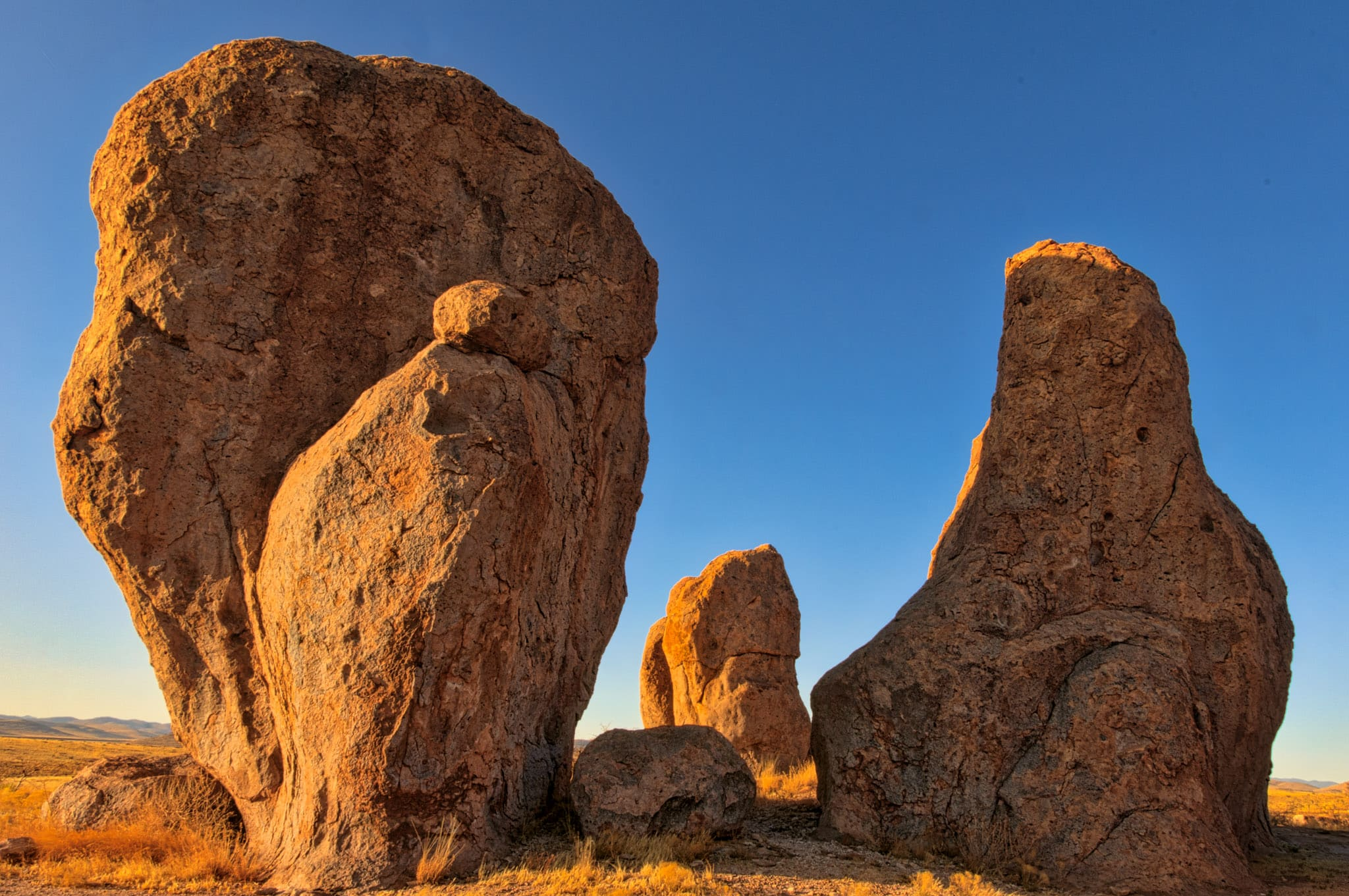 """A """"family"""" of pinnacles stand as still as stone while having their portrait taken in City of Rocks State Park, New Mexico."""