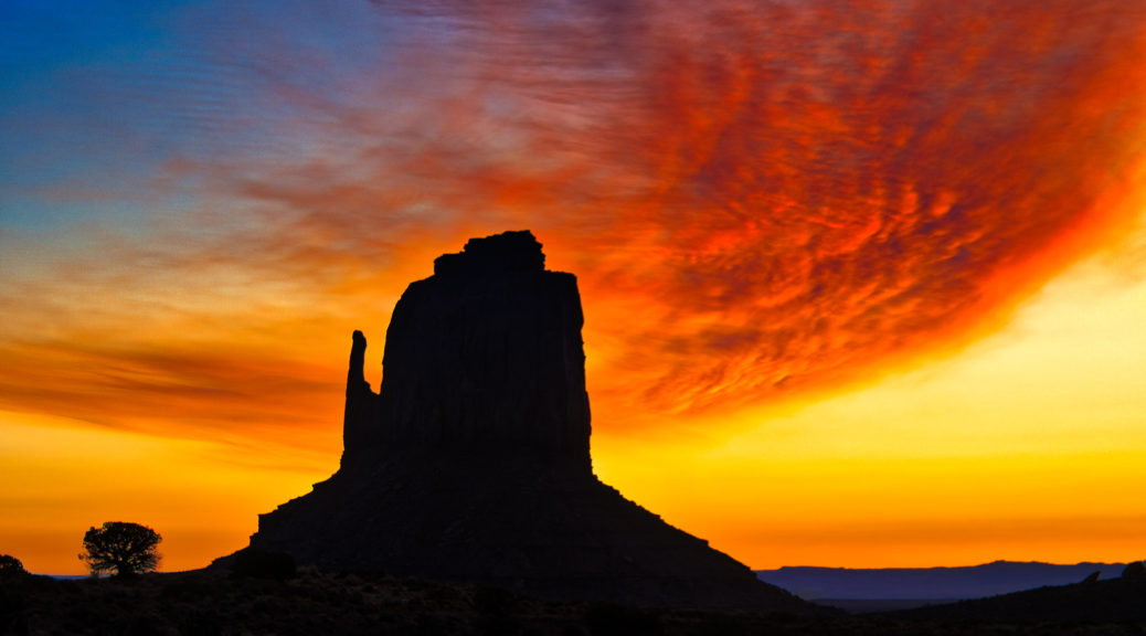 Dawn at near East Mitten in Monument Valley Navajo Tribal Park.