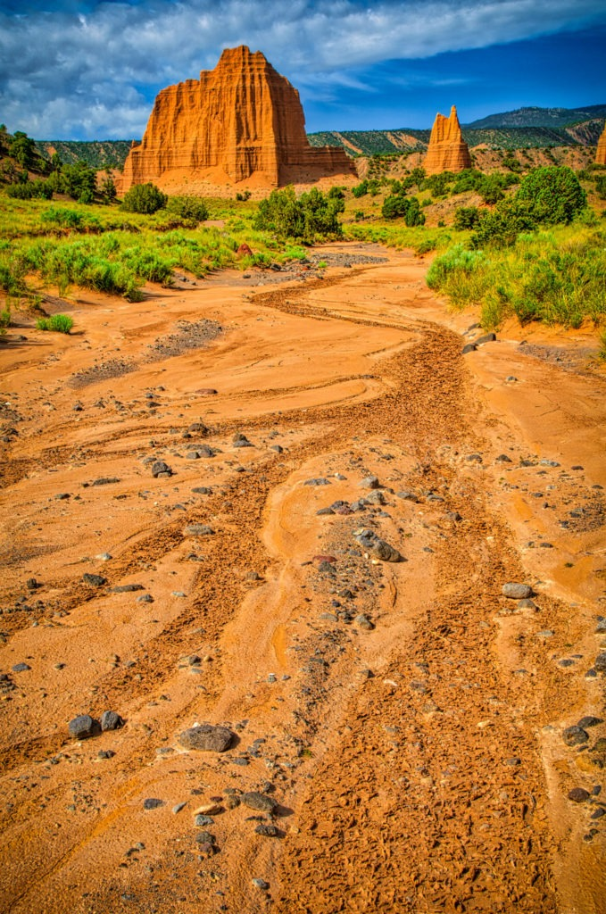"This is a view up a wash toward eroded Entrada ""monuments"" in Cathedral Valley, Capitol Reef National Park, Utah."