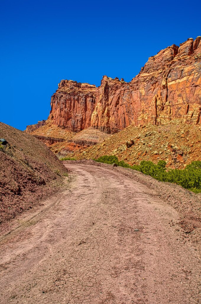 This dirt road heads south from Camp Ground Road, in the Fruita District of Capitol Reef National Park in Utah.
