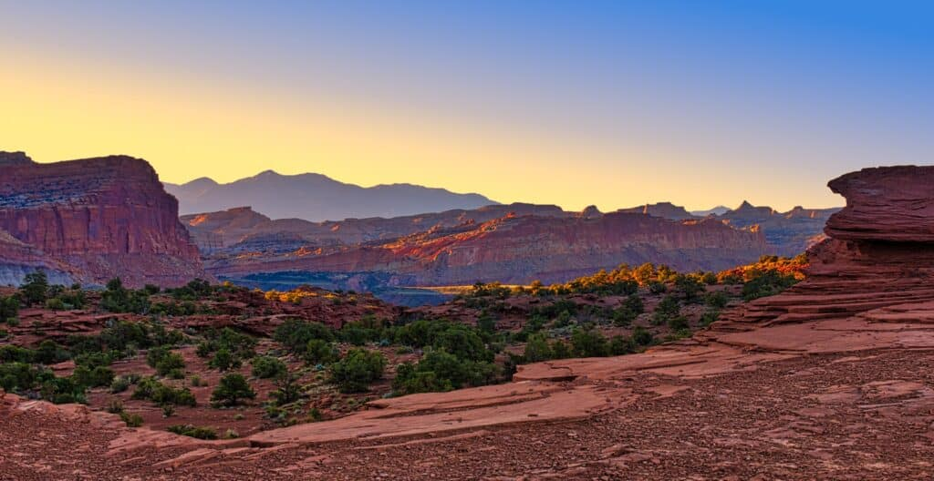 A view looking north toward Mummy Cliffs at sunrise, near Panorama Point in Capitol Reef National Park, Utah.