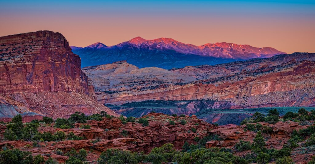 Twilight as seen from Panorama Point along Highway 24 in Capitol Reef National Park, Utah.