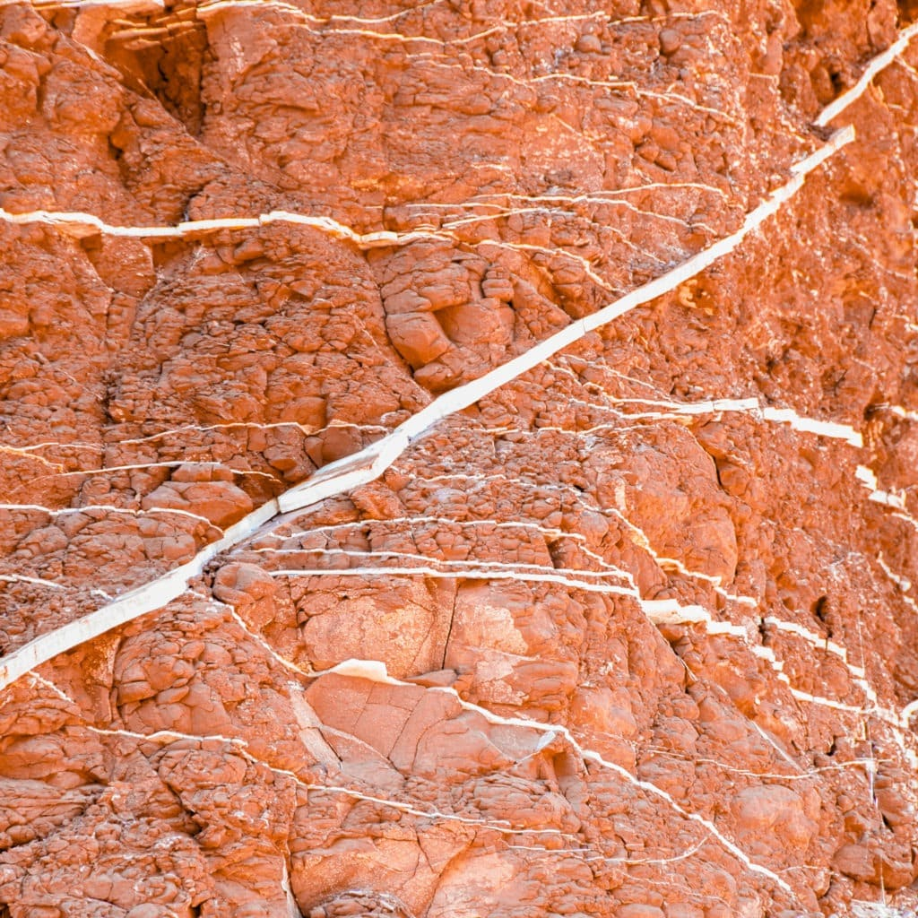 These veins of the mineral gypsum criss-cross through a member of the Moenkopi Formation along the Scenic Drive in Capitol Reef National Park, Utah.