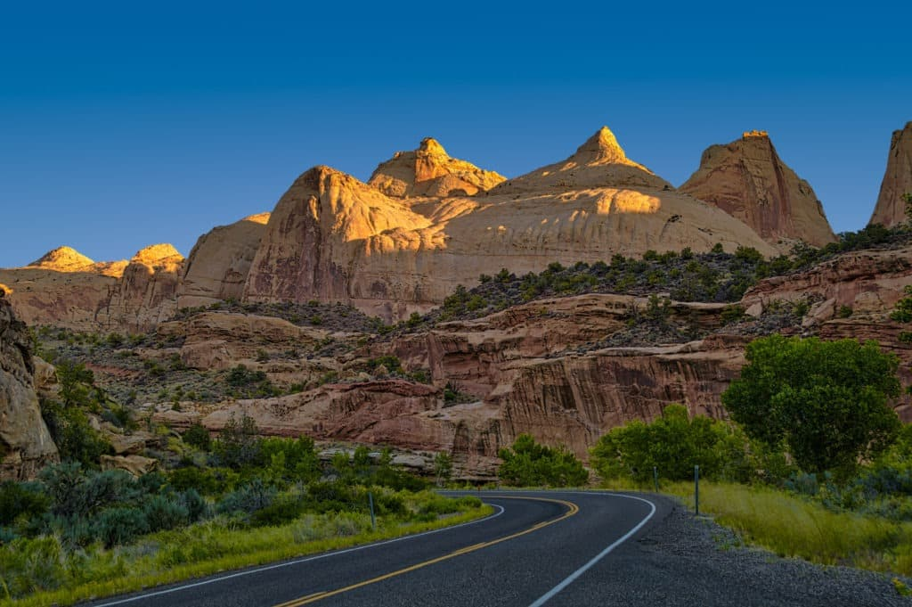 This view of Navajo Dome was taken at dawn from a pullout on Utah State Route 24 on the western edge of Capitol Reef National Park, Utah.