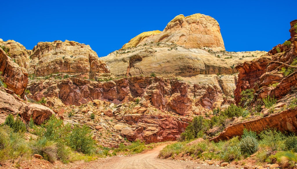 This is a view up Capitol Gorge Road, which is off Scenic Drive in Capitol Reef National Park, Utah.