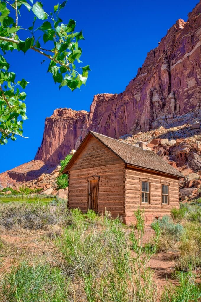 Historic Mormon schoolhouse in the Fruita district of Capitol Reef National Park, Utah.