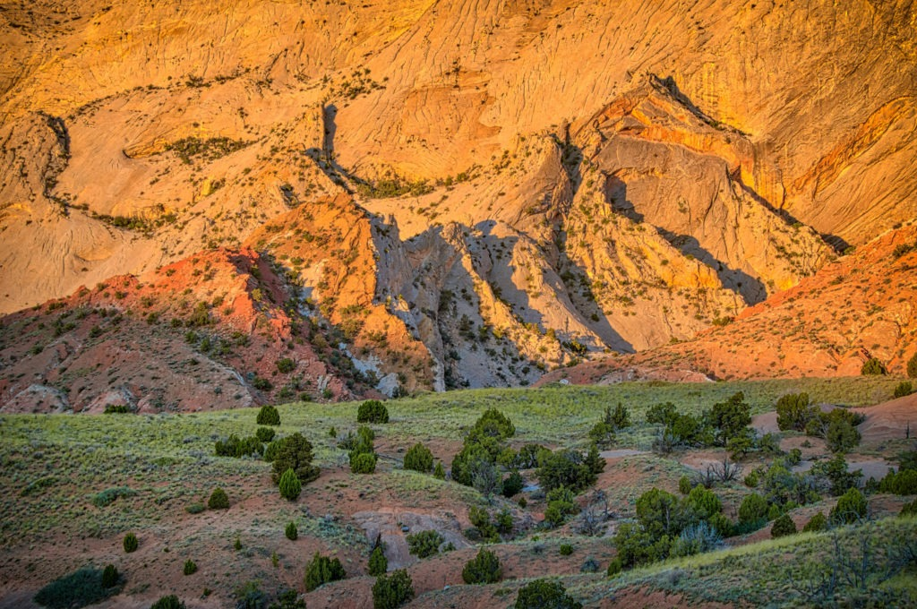 This is a view of the western side of the Waterpocket Fold, taken from the Notom-Bullfrog Road in Capitol Reef National Park near Torrey, Utah.