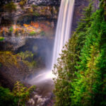 A misty and mysterious view of Brandywine Falls in Brandywine Falls Provincial Park off the Sea-to-Sky Highway along the coast of British Columbia, Canada.