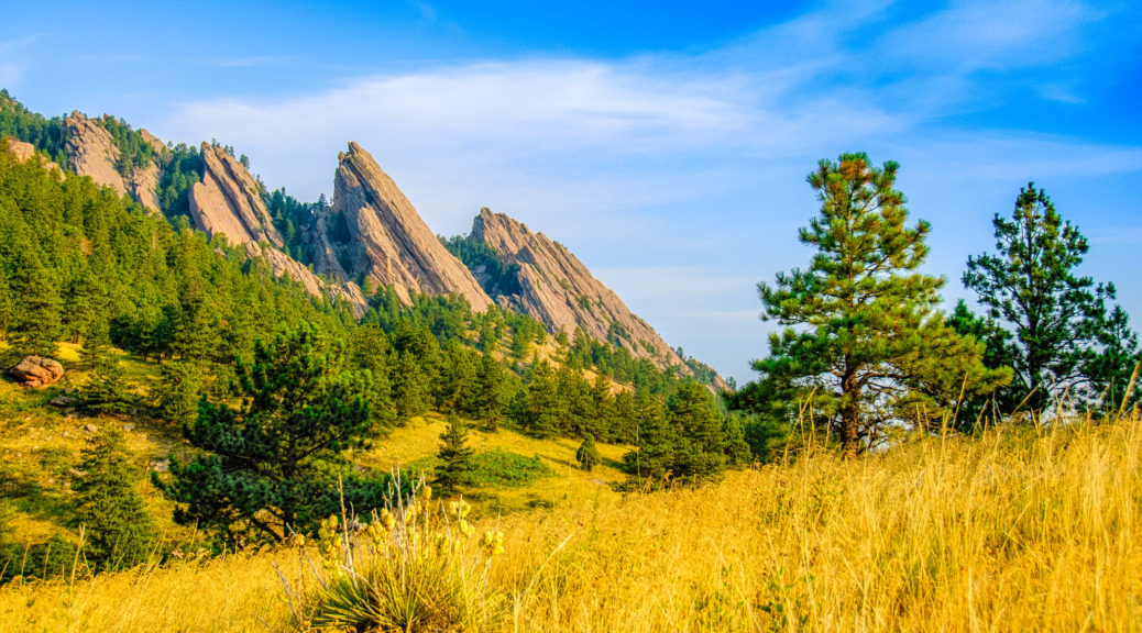 A southeast view of the Boulder, Colorado, Flatirons taken from the South Mesa Trail near NCAR.