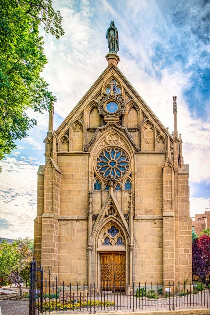 This is the front elevation of Loretto Chapel, taken from the Old Santa Fe Trail in Santa Fe, New Mexico.