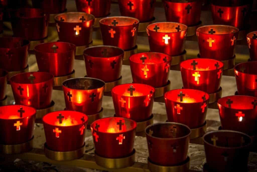 These votive candles are located just inside the La Conquistadora Chapel.
