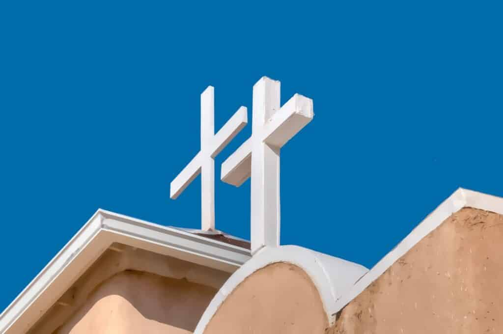 A detail of the crosses on the roof of the San Francisco de Asis Mission Church in Ranchos de Taos, New Mexico.