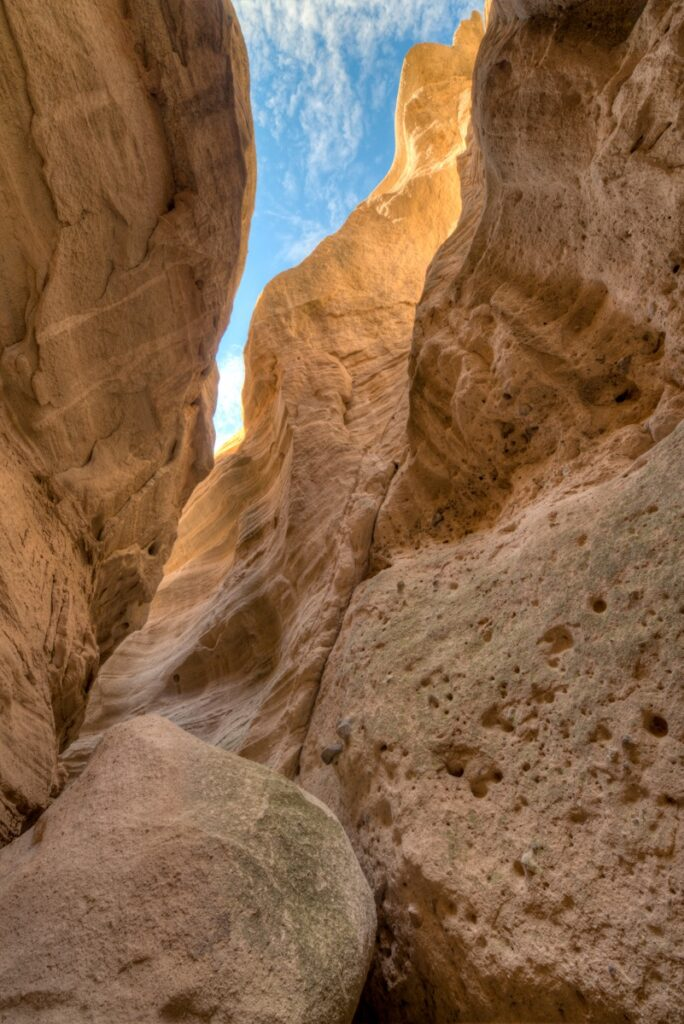 One of the trails through Kasha-Katuwe Tent Rocks National Monument, New Mexico, leads through many slot canyons.