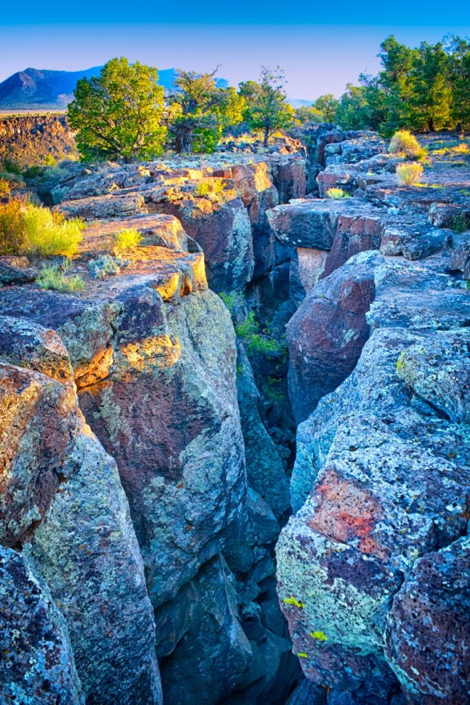An early morning view into a pressure crack along the Rio Grande gorge in Three Rivers Recreation Area in northern New Mexico.
