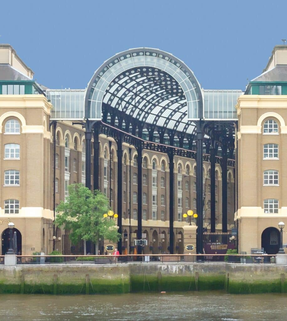 This is a view of the Hay's Galleria facade on the south bank of the Thames River, across from the City of London.