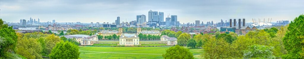 This panoramic view taken from the Prime Meridian, near the statue of General James Wolff shows the Queens House, Greenwich University and a large portion of the London skyline across the Thames.