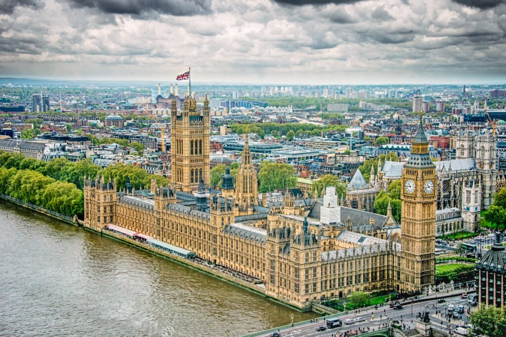 This view of the Palance of Westminster and Westminster Abbey was taken for atop the London Eye.