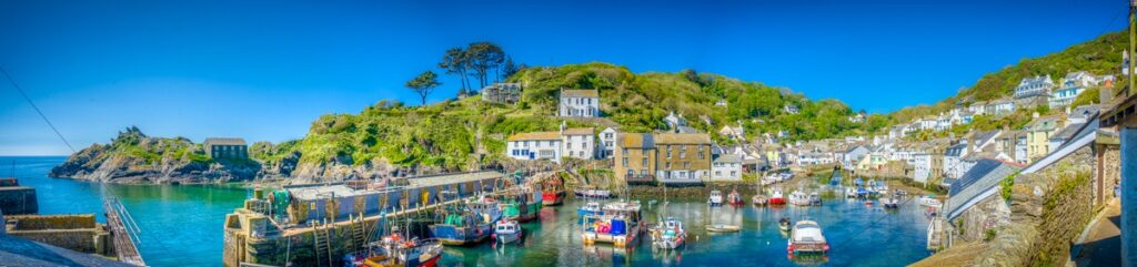 This is a panoramic view of the south side of Polperro Harbor taken from the Warren in Polperro, Cornwall, England.