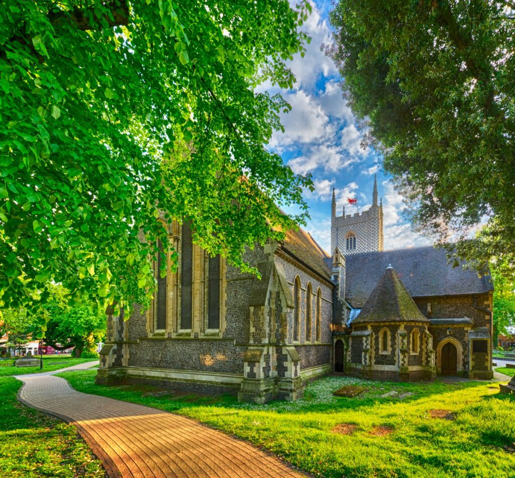 The church was originally built in the 11th century on the site of a former 10th century nunnery and possibly a 9th century church it was rebuilt between 1551 and 1555 following the Reformation using stone from the now destroyed Reading Abbey. The belltower is somewhat newer.