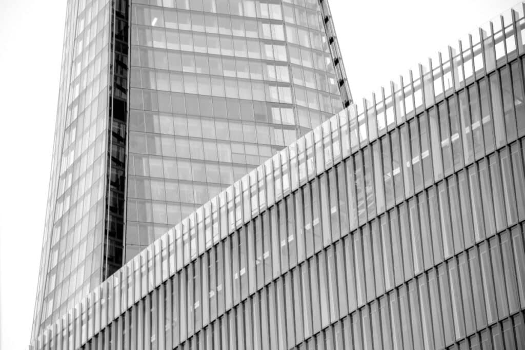 The base of the Shard is obscured by part of the London Bridge Bus Station near the Thames in the City of London. This image is part of our London architectural abstracts portfolio.