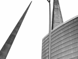 Here is a juxtaposition of the Needle Sculpture, a modern street lights and the Shard near London Bridge in London, England. This image is part of our London architectural abstracts portfolio.