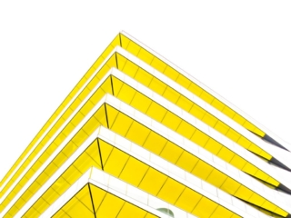 This is a view looking up at a modern building at the intersection of Arthur and Upper Thames Street in London, England. This image is part of our London architectural abstracts portfolio.