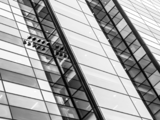 This is a closeup of the Nomura International Building at Angel Lane and Upper Thames Street in Long, England. This image is part of our London architectural abstracts portfolio.