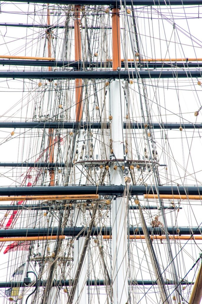 Cutty Sark was launched 22 November 1869. One of the last tea clippers to be built, Cutty Sark was the fastest of its time. It is permanently dry-docked at Greenwich Pier, along the Thames River.