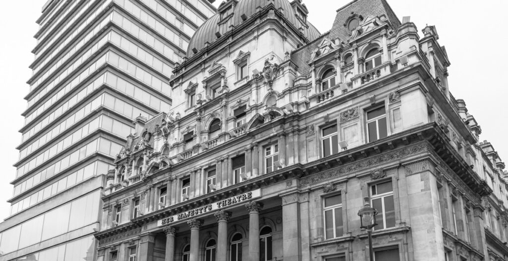 This view of Her Majesty's Theatre, in the French Renaissance style, is juxtaposed with the banal style of the glass and steel High Commission for New Zealand building-a truly aweful combination of mediocrity.
