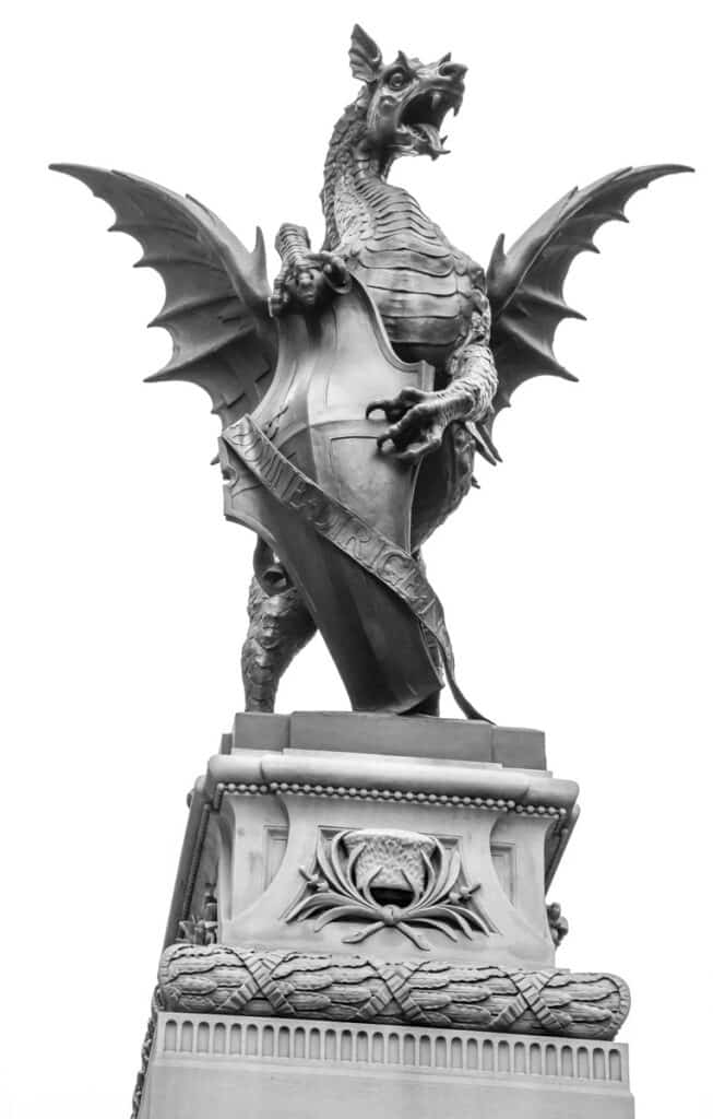 The dragon was created in 1880 by the sculptor Charles Bell Birch and was commissioned to mark where the historic gates of the City of London once stood.