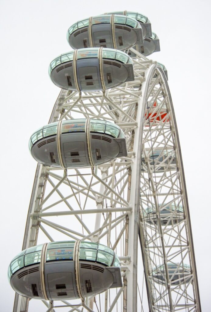 Here is a view of the London Eye as seen from the base. This observation wheel sits on a double pier on the south bank of the Thames River in London, England.