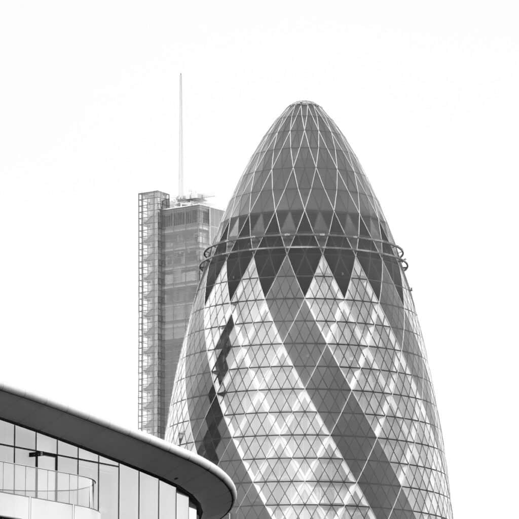 This view of the Gherkin was taken from a boat on the Thames.
