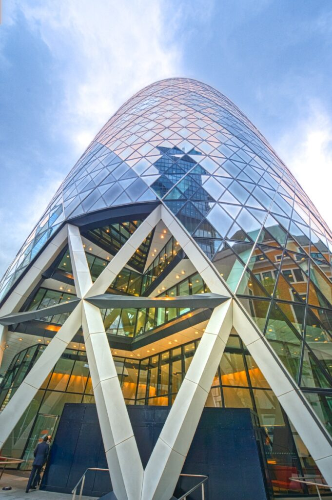 This view of the Gherkin was taken at street level along St. Mary Axe in the City of London, England.