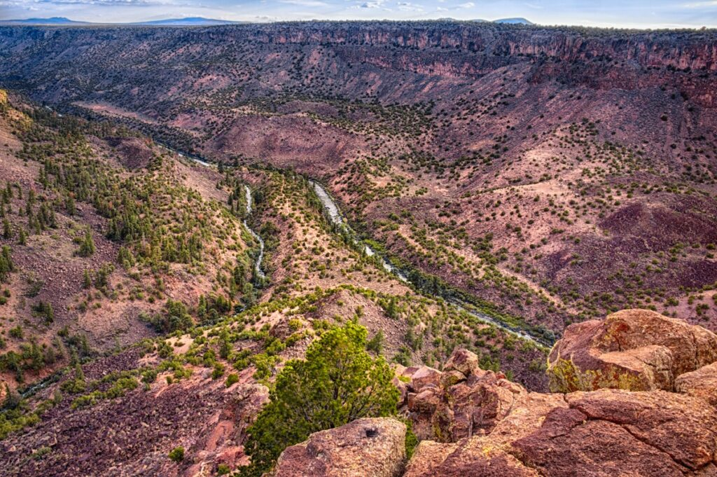 This view of the confluence of the Red River and the Rio Grande was taken from the La Junta Point overlook near the La Junta Point Campground in Wild Rivers Recreation Area, New Mexico.