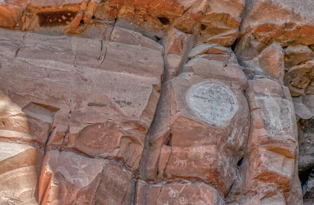 Closeup of ancient Sinaguan pictographs and ruins at Honanki Heritage Site, near Sedona, Arizona. Is that a moon figure?