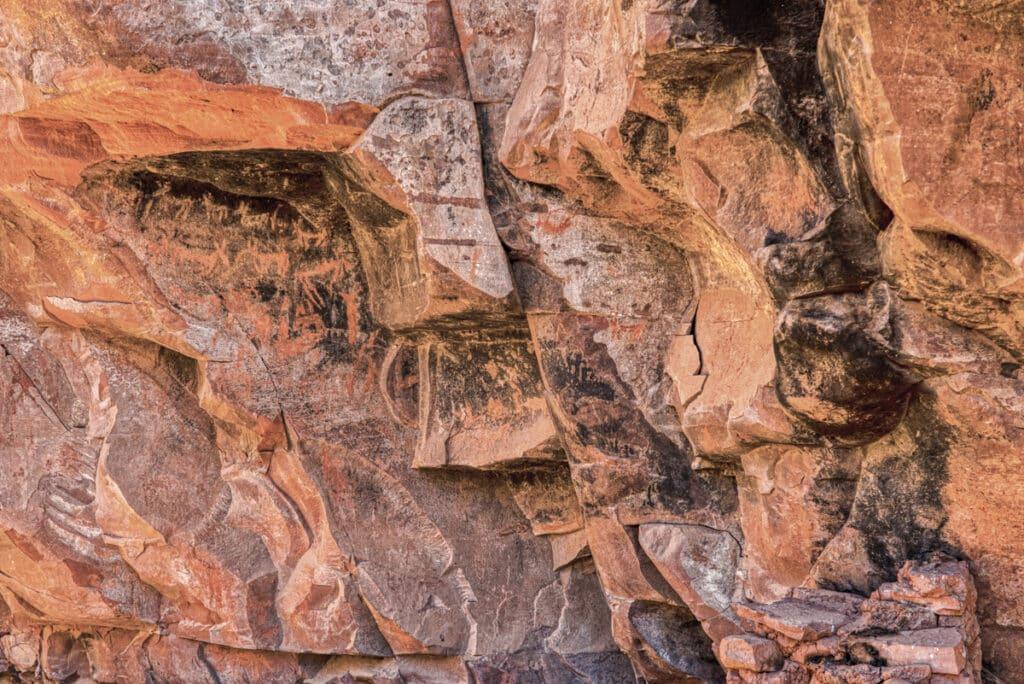 Closeup of ancient Sinaguan pictographs at Honanki Heritage Site, near Sedona, Arizona.