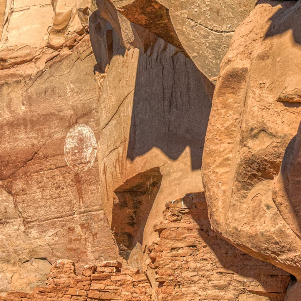 Closeup of ancient Sinaguan pictographs and ruins at Honanki Heritage Site, near Sedona, Arizona.