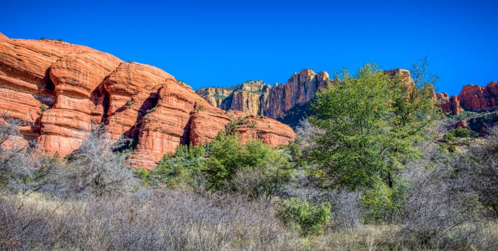 A view of the sandstone cliffs that surround Palatki Heritage Site near Sedona, Arizona.