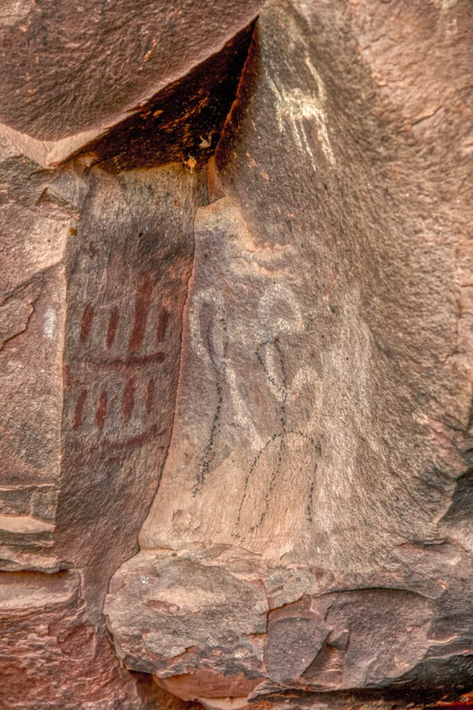 A grouping of pictographs at Palatki Heritage Site near Sedona, Arizona.