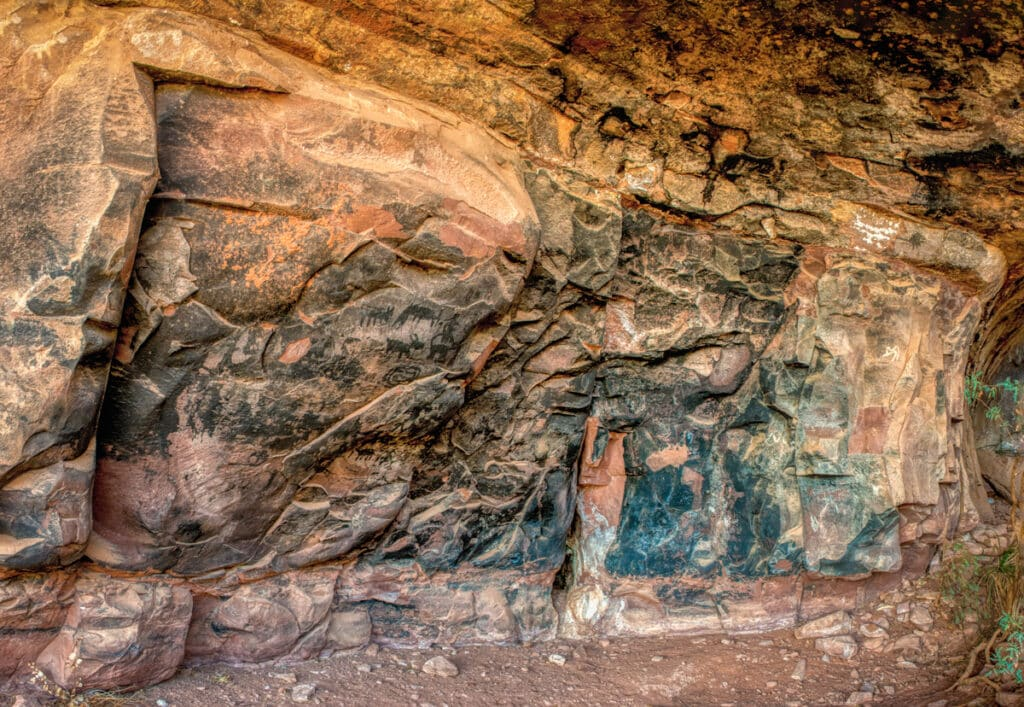 A grouping of pictographs on a soot-covered cave wallat Palatki Heritage Site near Sedona, Arizona.